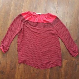 Loft maternity peasant top blouse M